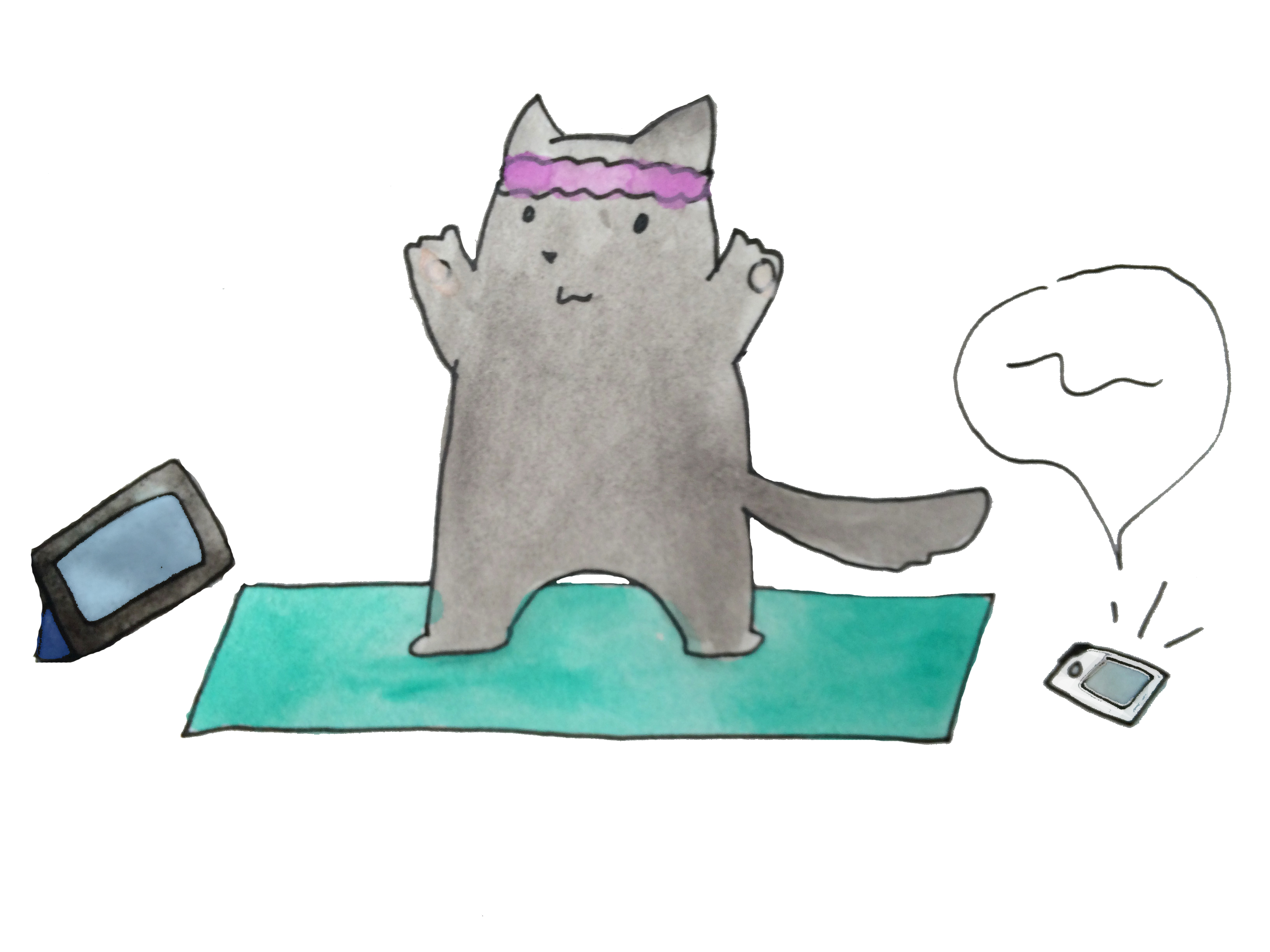 Yoga Cat Masters the Art of Technology