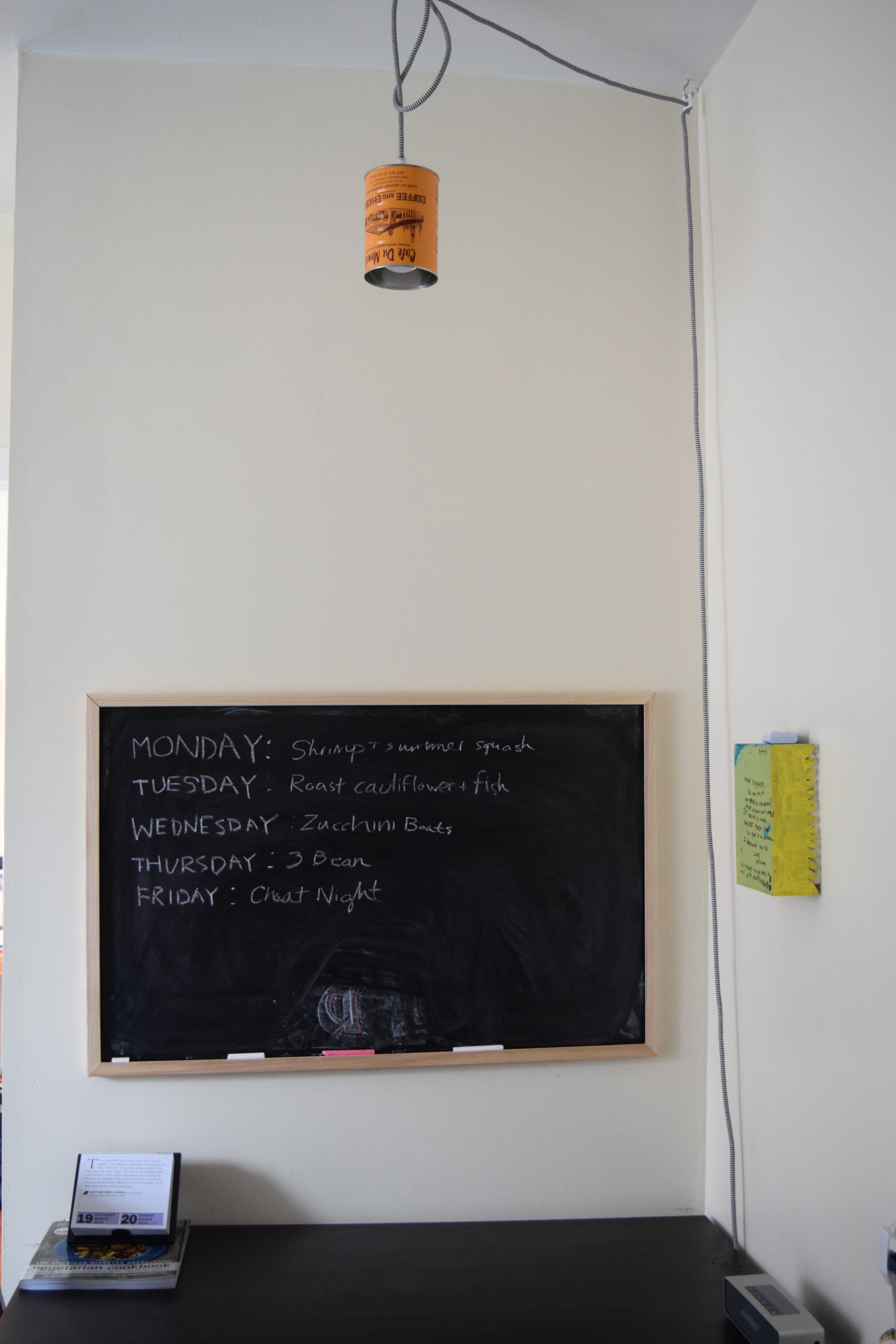 For months I had been thinking a chalkboard would be the perfect thing for our kitchen table nook. I finally bought one and hung it up this weekend. Already it's lead to some meal plan brainstorming, and hopefully it's be a perfect place for inspiration, love notes, spontaneous poetry, and more.