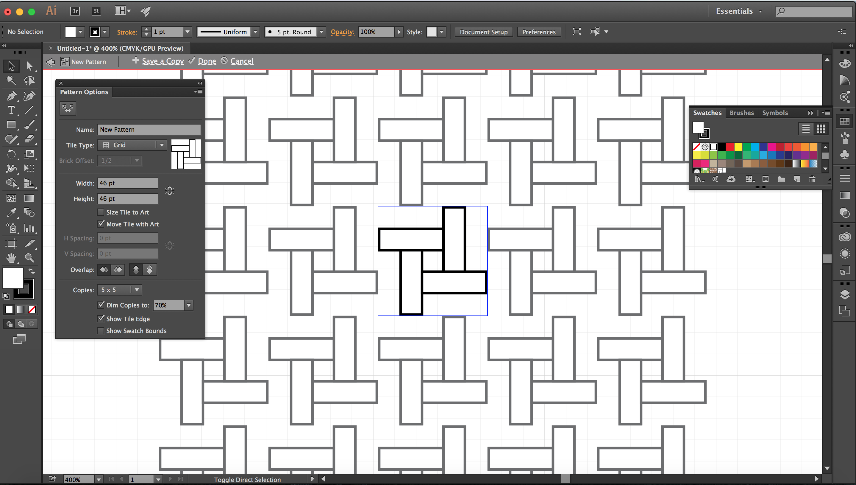 First stage of pattern spacing