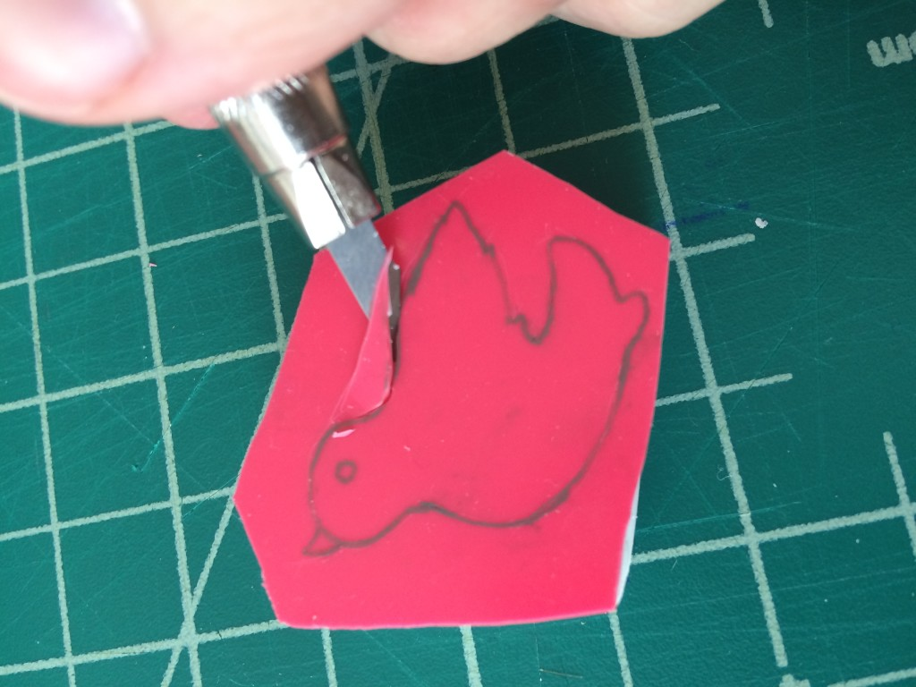 Cutting into Bird Stamp 2